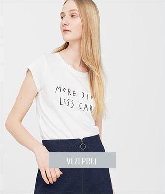 Tricou alb cu imprimeu Mango