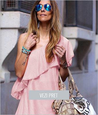 Rochie din voal Yannis roz prafuit