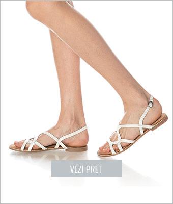 Sandale albe de piele Gioseppo