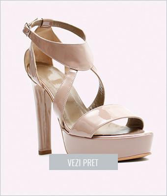 Sandale din piele cu toc si platforma Nevara