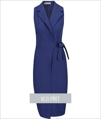 Rochie albastra Closet cu croi parte peste parte