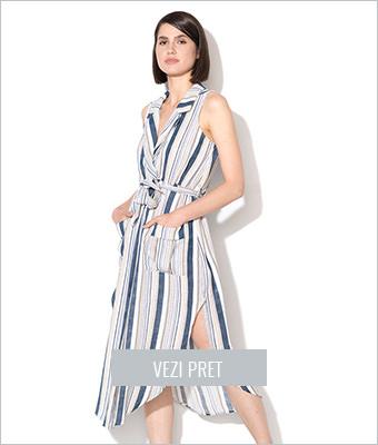 Rochie albastru cu bej petrecuta Iska