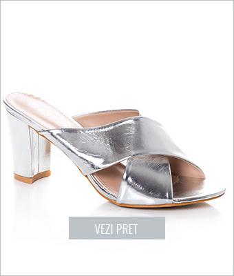Papuci Aamu argintii cu toc gros