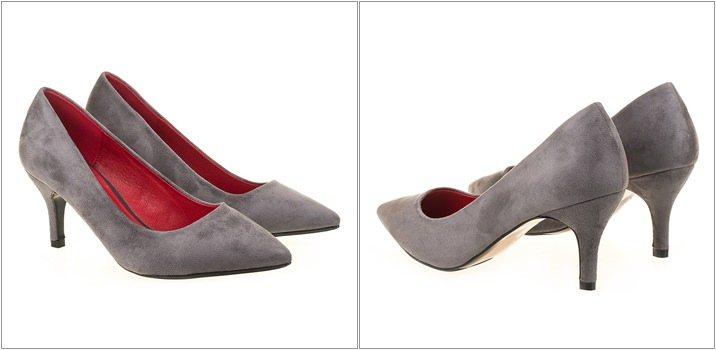 Pantofi stiletto Alberta gri toc mediu