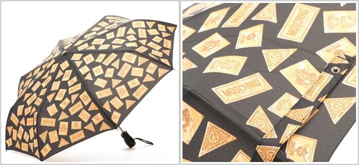 Umbrela neagra cu imprimeu auriu Moschino