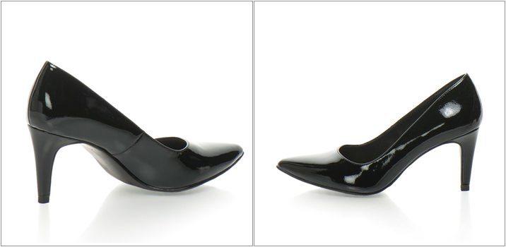 Pantofi negri cu aspect lacuit femei Tamaris