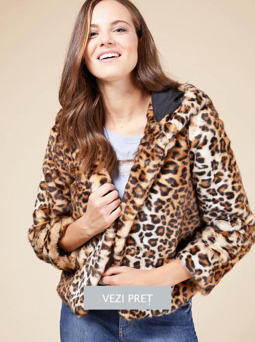 Jacheta cu animal print din blana sintetica Oltre