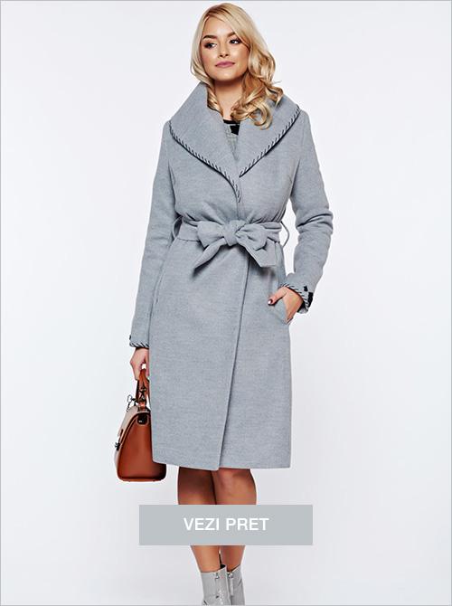 Palton Ladonna gri elegant cu cordon