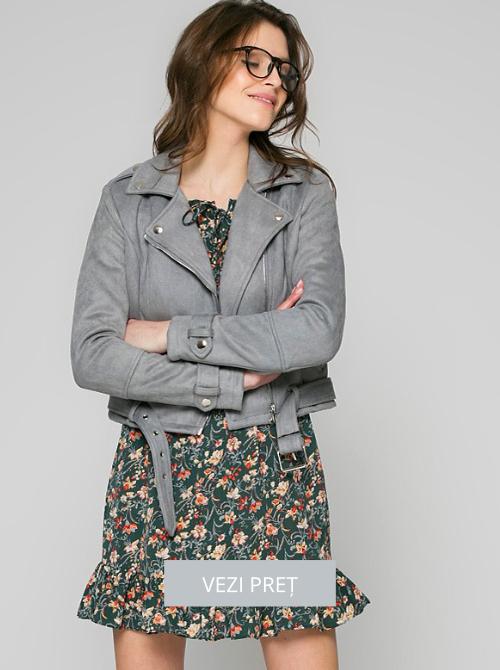 Jacheta scurta din piele intoarsa sintetica Answear