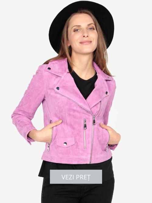 Jacheta biker roz piele intoarsa Vero Moda