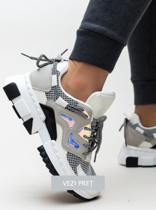 Pantofi sport cu talpa lata Ormak albi
