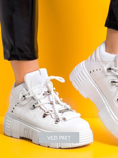 Sneakersi dama albi cu talpa groasa Calinda