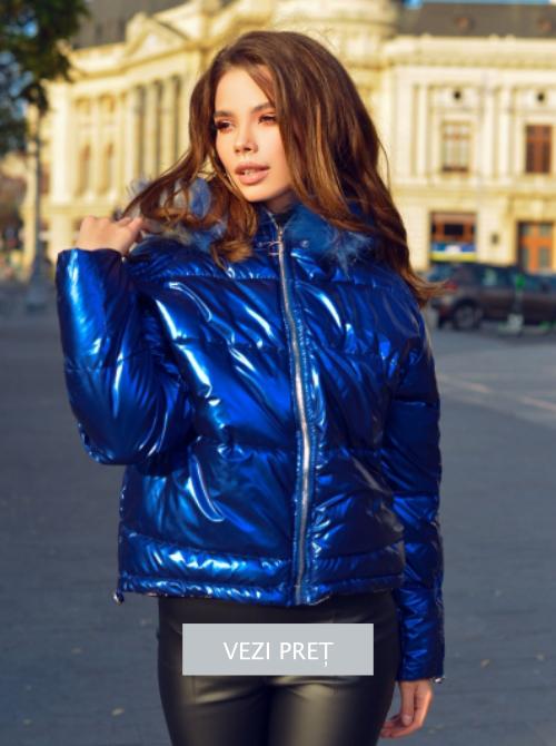 Geaca scurta asimetrica albastru metalic