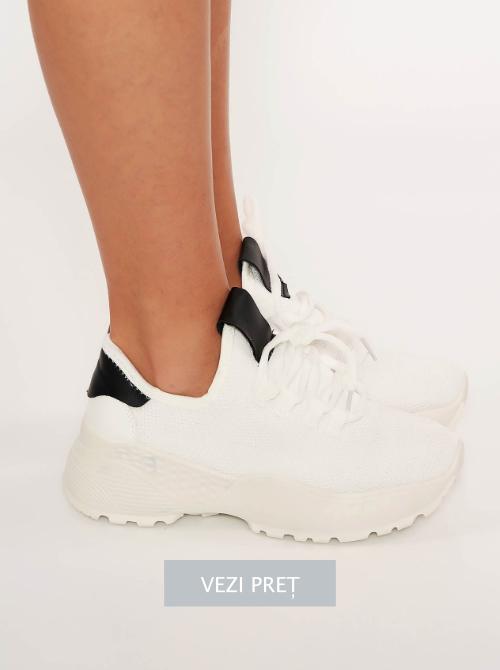 Pantofi sport albi cu platforma
