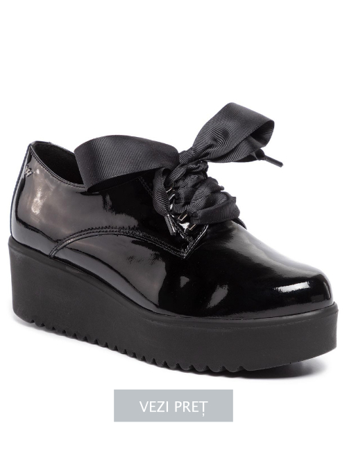 Pantofi Oxford Wojas ieftini din piele naturala lacuita