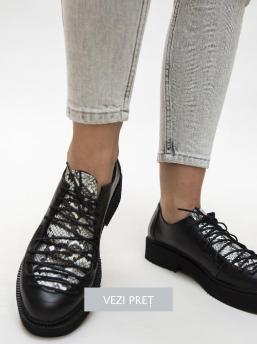 Pantofi casual tip Oxford Janos cu talpa platforma