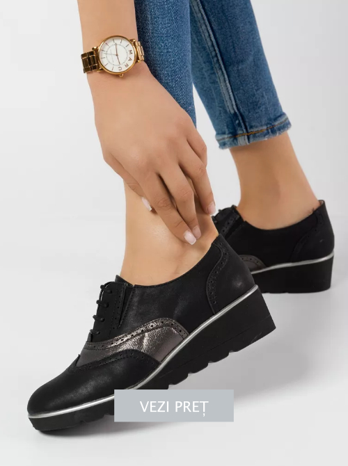 Pantofi Oxford Ariga negri cu talpa groasa