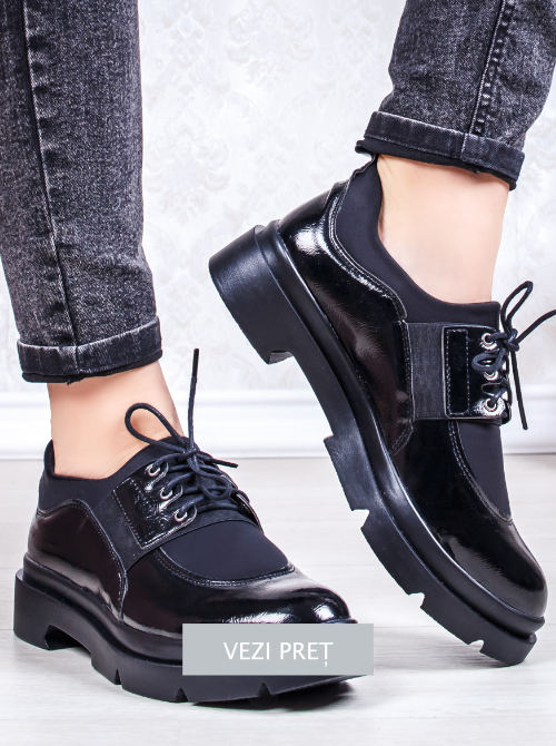 Pantofi negri casual Glezida cu talpa platforma