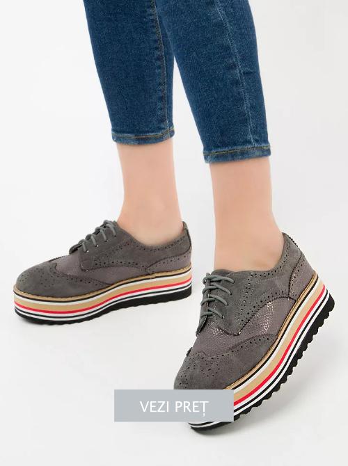 Pantofi Oxford Rooms gri